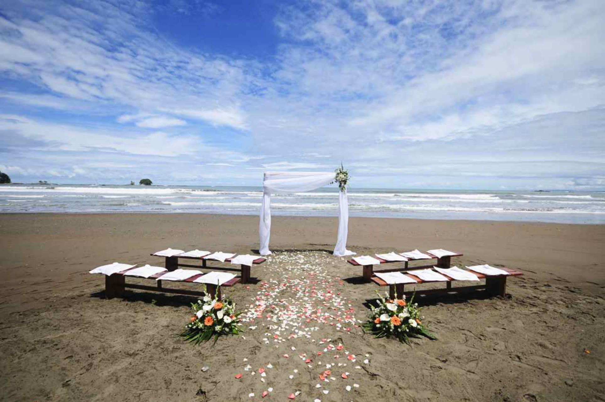 Beach Wedding Ceremony, Rustic Benches, White Wedding Arch, Dominical Costa Rica